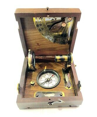 Decorative Antique Maritime Nautical Brass Compass in Wooden Box with Clock