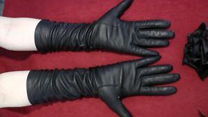 Vintage-soft-mid-long-lambskin-leather-gloves-Carson-Pirie-Scott-Sz-6