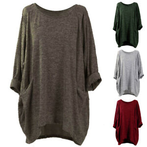 Women-039-s-Casual-Solid-Blouse-Shirt-Tops-Batwing-Sleeve-Loose-Asymmetrical-Jumper