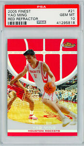 YAO-MING-2005-Topps-Finest-039-RED-REFRACTOR-039-21-Perfect-PSA-10-Grade-amp-POP-2