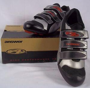Answer-Mens-Road-Bike-Cycling-Shoes-SLK-H-04-EU-Sz-42-US-8-5-Black-amp-Silver-NIB