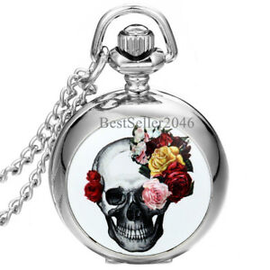 Gothic-Devil-Retro-Flower-Skull-Quartz-Pocket-Watch-Necklace-Halloween-Gift