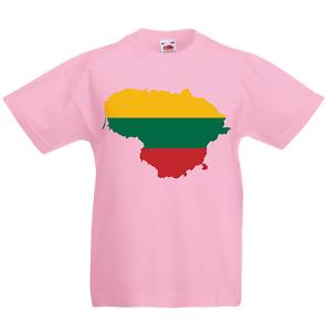 Lithuania Kid/'s T-Shirt Country Flag Map Top Children Boys Girls Unisex