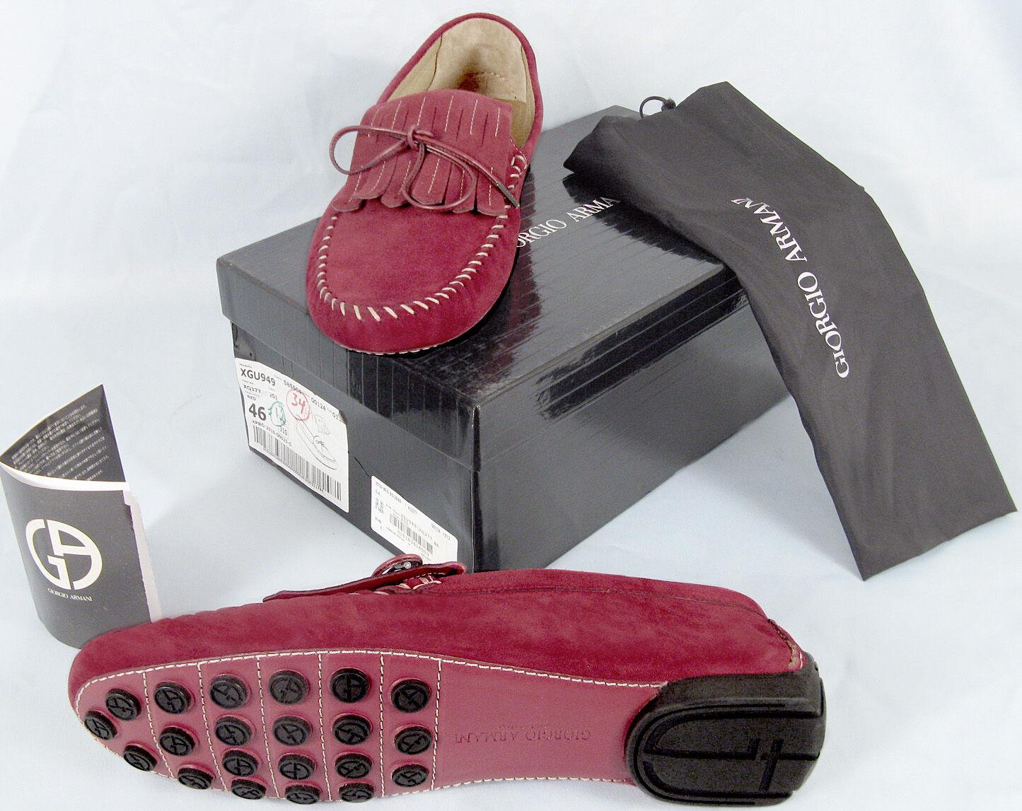 NEW  850 Giorgio Armani Uomo scarpe    e 46 Approx US 13  Dark rosso Suede Moccasins c68686