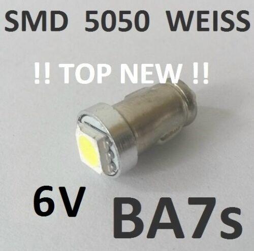 10 STÜCK BA7s SMD LED WEISS Tachobeleuchtung Cockpit Oldtimer VDO KFZ 6V DC 10er