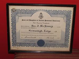 UNIQUE 1955 SONS AND DAUGTHERS OF IRELAND PROTESTANT ASSOC. SIGNED BY PRESIDENT