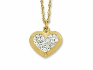 Bevilles 9ct Yellow Gold Silver Infused Crystal Heart Necklace  Chain