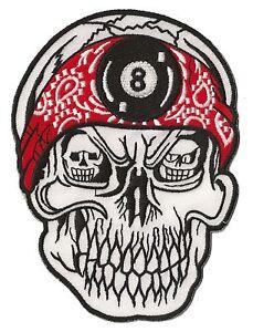 Ecusson biker patch brodé patche 8 skull taille medium