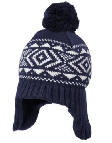 GYMBOREE CUDDLE CLUB NAVY FAIR ISLE LINED SWEATER TRAPPER HAT 0 6 12 24 NWT