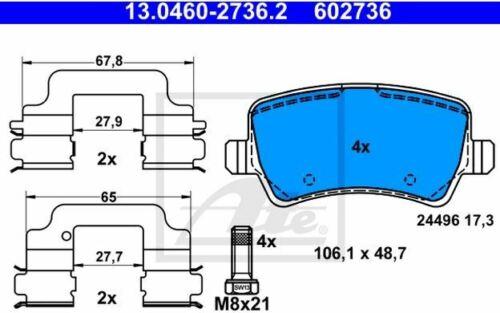 4x ATE Bremsbeläge hinten für VOLVO XC60 V60 V70 S80 FORD S-MAX 13.0460-2736.2