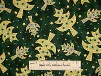 Hoffman All Is Bright Christmas Green Tree Gold Star Holiday Cotton Fabric Yard