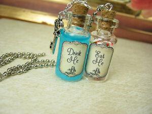 5087ce769 Eat Me & Drink Me Glass Bottle Necklace Set - Alice in Wonderland ...