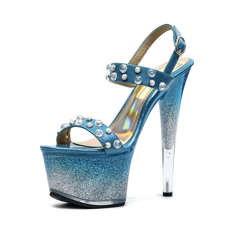 17CM Super High Stiletto Womens Clubwear Sexy Platform Hollow Sandals Bead shoes