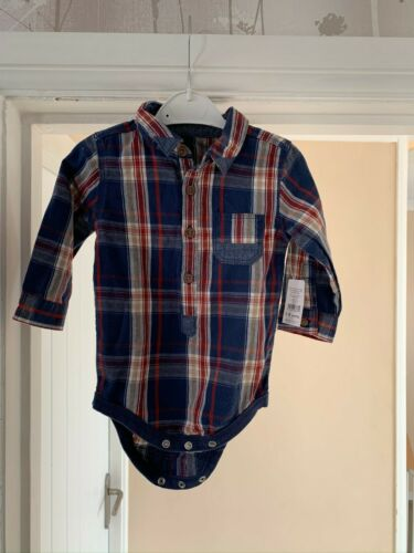 NEW Baby Nutmeg Shirt Bodysuit Check Navy Boy 6-9 months