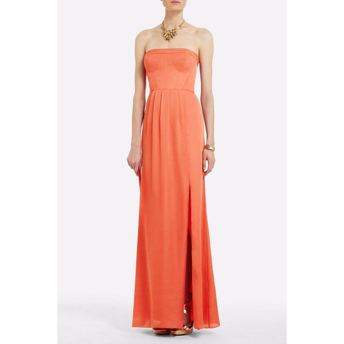 BCBGMaxAzria Pink orange Coral Enyas Strapless Slit Dress Size 2
