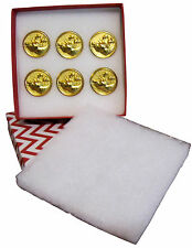 "**CHRISTMAS---OL'SANTA""S (6EA) PRO REMOVABLE GOLD REINDEER 7/8""  BUTTONS *****"