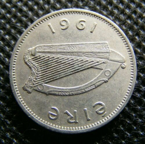 1961 Irish Sixpence Coin Old Ireland Greyhound Dog Celtic Harp Vintage