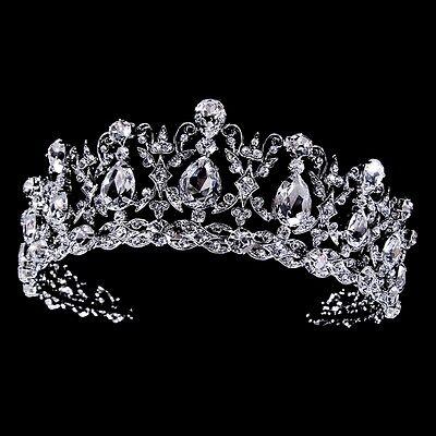 Silver Clear Rhinestone CZ Quinceanera Prom Sweet 15 or 16 Bridal Tiara Crown