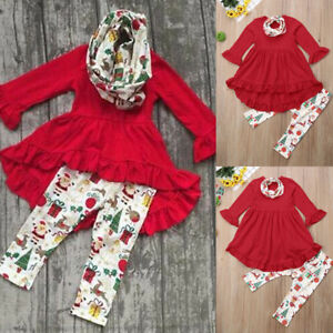 40752989fda7a Toddler Kids Baby Girl Outfit T-shirt Dress Top+ Leggings Pants ...