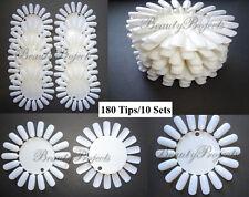 (180tips) 10 Sets False Natural Nail Display Wheel Palette Color Chart Nail Art