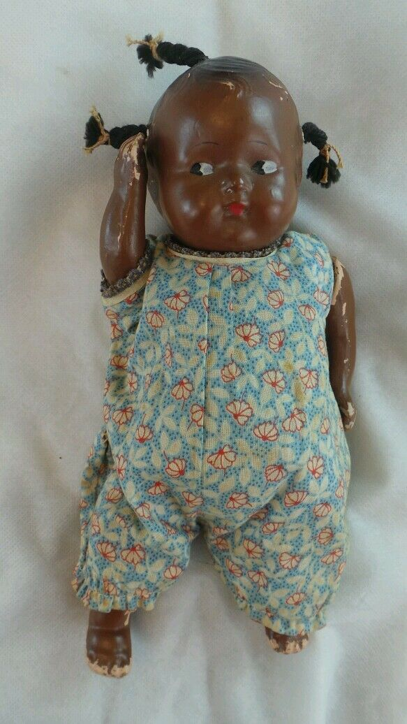 ANTIQUE schwarz E GoldBERGER EEGEE COMPOSITION DOLL
