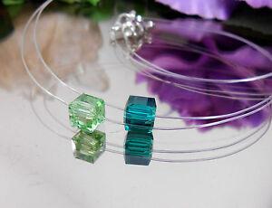 Unsichtbare-Halskette-schwebender-Kristallglas-Wuerfel-Gruen-Toene-Nylon-transpar