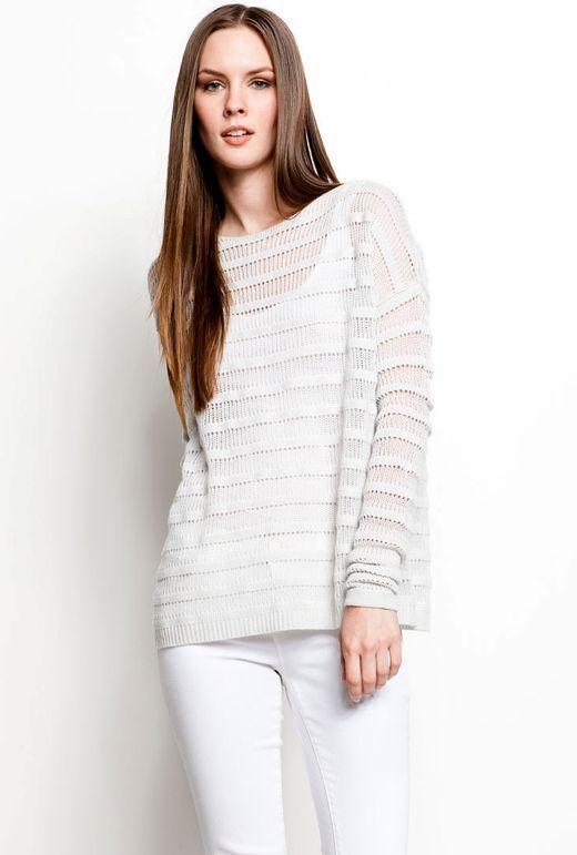 NWT - Teorin Ameline Loryelle Wool Ribbed Stripped tröja, Ice Ecru - Storlek Medium