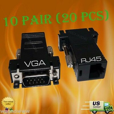 20 pcs VGA SVGA to RJ45 Video Extender Adapter HD15 to CAT5e CAT6 100/' 10 Pair