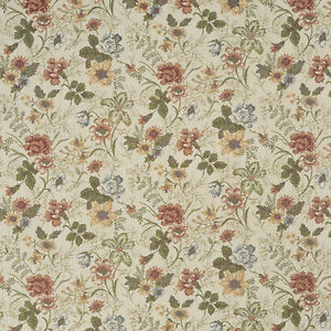 F929 Red Green And Yellow Floral Tapestry Upholstery Fabric By The