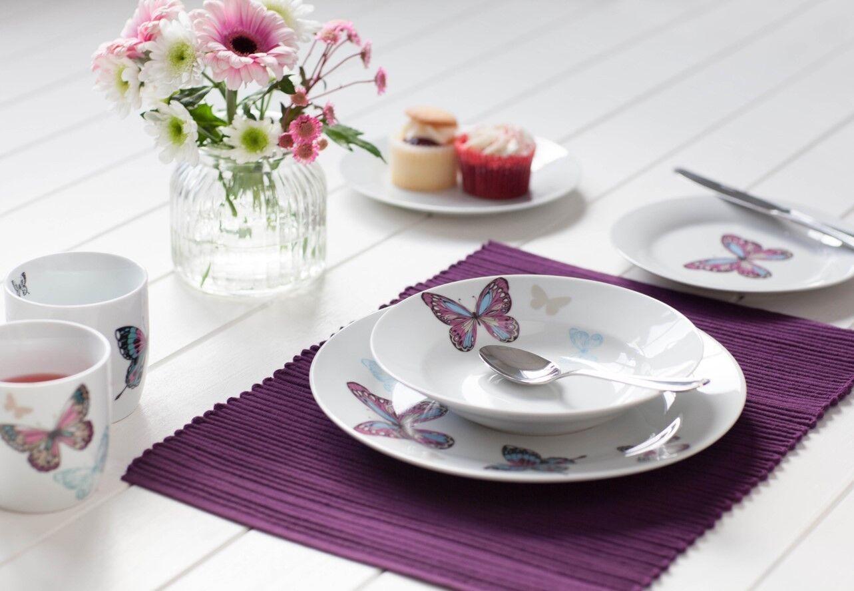 DINNER SET 12 PIECE MARIPOSA BUTTERFLY PORCELAIN 4 X MUG SET TEA CUP PLATES BOWL