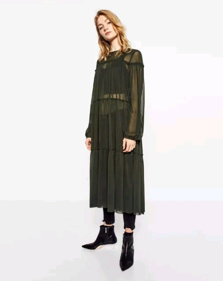 Zara long sleeve mesh maxi dress