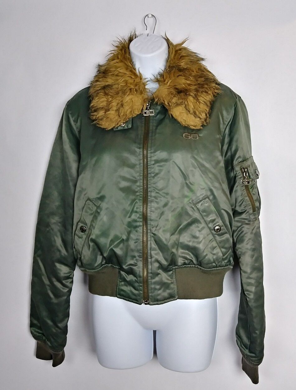 Guess Jeans Women's Green Nylon Coat Detachable Faux Fur Collar Size LG