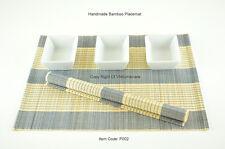 6 Bamboo Placemats, Handmade Table Mats, Blue - Cream (Light Brown), P002