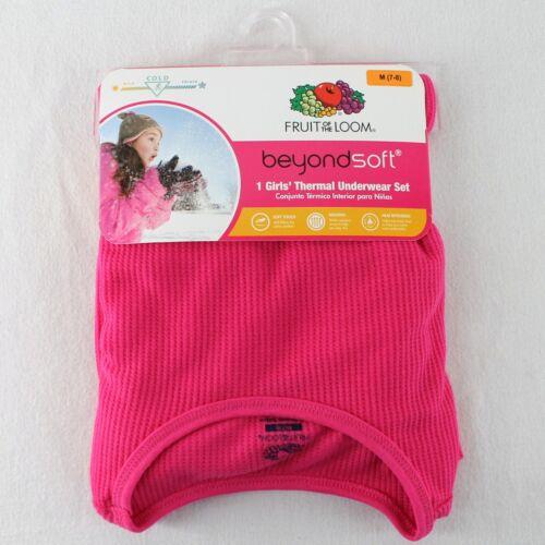 Fruit of the Loom Girls Thermal Underwear Set Pink Top Pants Long Johns