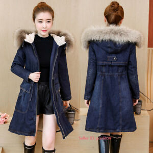 Womens-Warm-Long-Jeans-Jacket-Fleece-Lined-Denim-Coat-Fur-Collar-Hooded-Parka