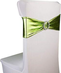 Razbees Wedding Chair Sash Covers 6 X14 20 Pc Spandex Bands Metallic Moss Ebay