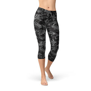 10ad2e493eb6e Black Camo Capri Leggings For Women - Black Yoga Capri Pants w ...