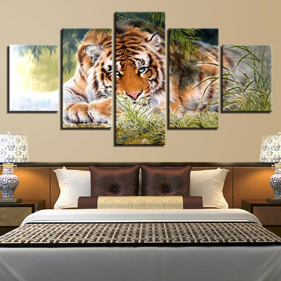 Lonely Tiger Animal Framed 5 Panel Canvas Print Wall Art