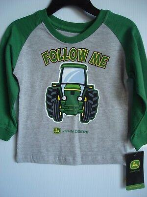 NEW John Deere Toddler Boys Long Sleeve Muddy Tractor T-Shirt Size 2T 4T