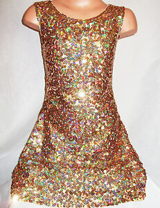 GIRLS 60s STYLE GOLD SPARKLY HOLOGRAPHIC SEQUIN EVENING DANCE ...