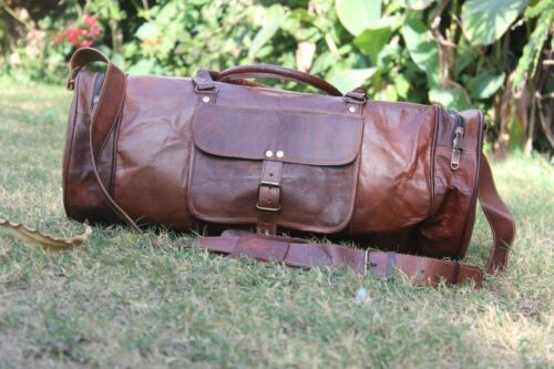 "New 24/"" Men/'s Brown Vintage Genuine Leather Yoga Travel Luggage Duffle gym Bags"