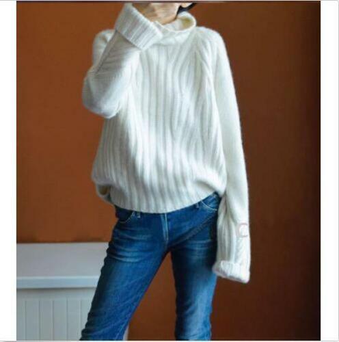 Damen Pullover Cashmere High-Necked warme Langarm Wintermantel Tops Rollkragen