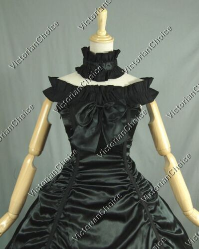 Southern Belle Victorian Gothic Black Witch Gown Dress Halloween Costume 135