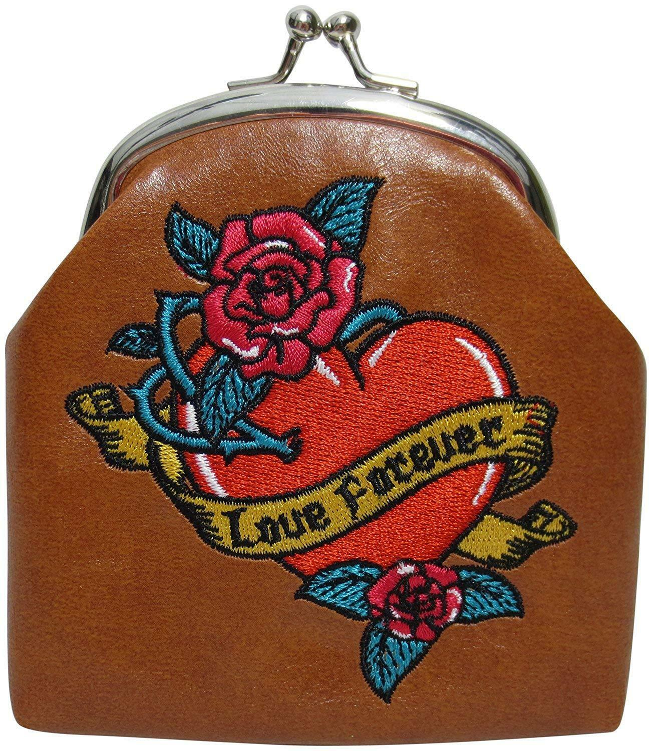Lavishy Love Forever Heart Roses with Tattoo Swallow Birds Coin Purse
