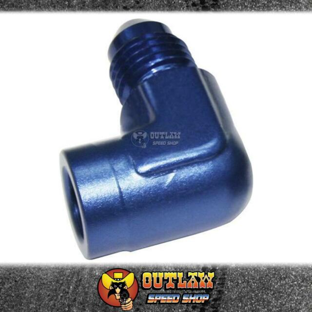"""AEROFLOW 90° FEMALE 1/8"""" NPT TO -4AN MALE FITTING BLUE - AF373-04"""