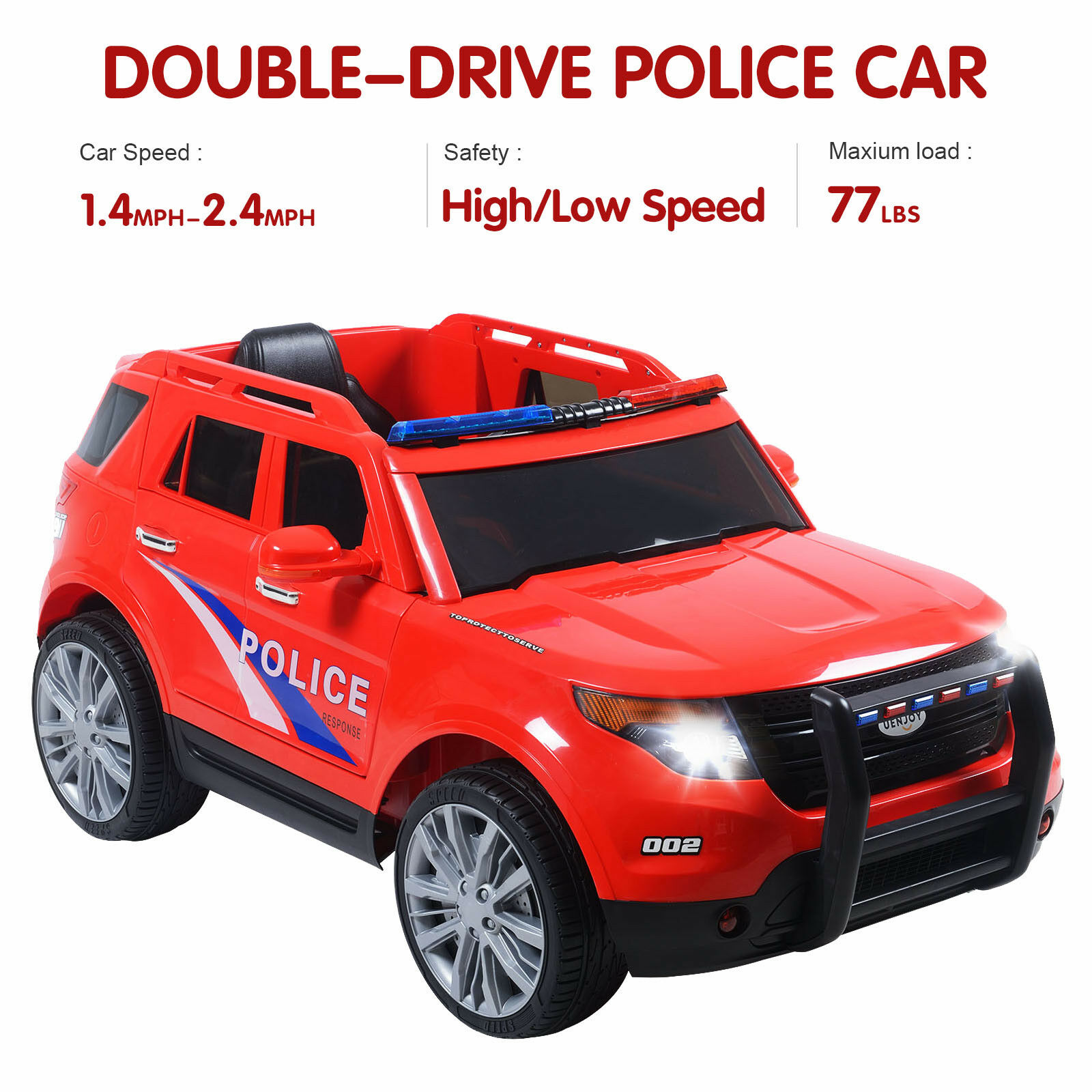 12v Kids Ride on Toy Double-drive Police Cars W/ Siren Detachable Speaker  Red