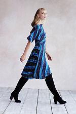 Anthropologie Wintertide Dress Sz XXSP, Blue Drapey Jersey Frock By Tracy Reese