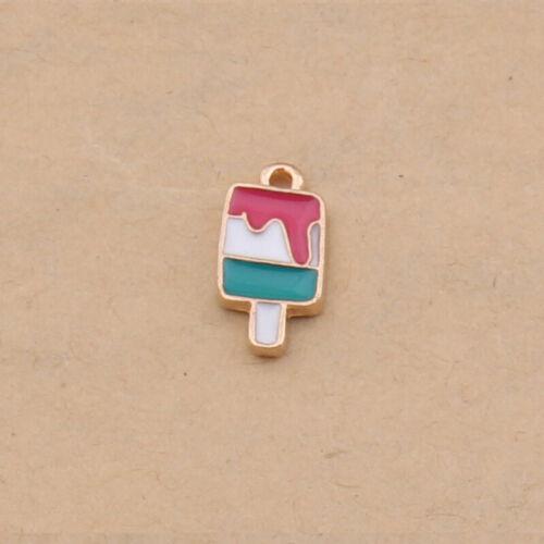 10PC Esmalte dona Accesorios dibujos animados Popsicle Pizza Colgante Dijes 1216