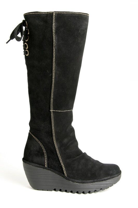 Fly London Women's Yust Suede Leather Black Wedge Boots
