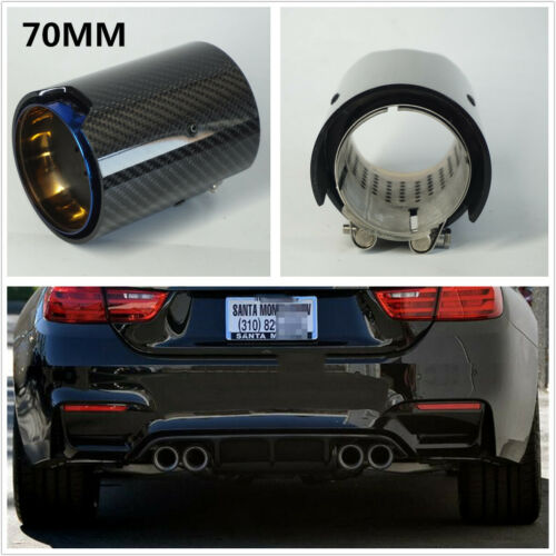 70MM Grilled Blue Carbon Fiber Glossy Exhaust Tip For M Performance Exhaust Pipe